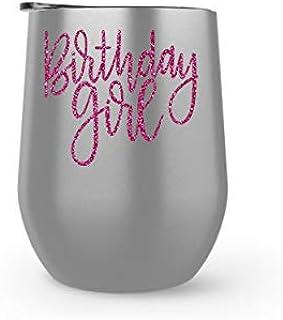 Birthday Girl 葡萄酒杯 | 340.19 克不锈钢粉色闪光葡萄酒杯保温杯带咖啡盖 | 30 岁生日、40 岁、50 岁、21 岁生日