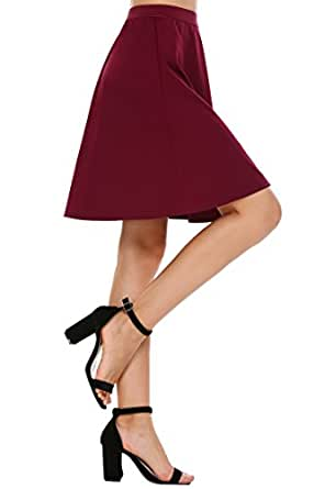 Chigant Basic Solid High Waist A-line Flared Skater Mini Skirt  Wine Red Small