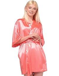 Turquaz Linen 女式纯色缎面短款和服式伴娘内衣睡袍