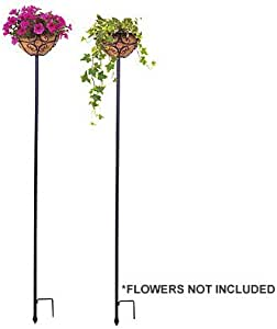 """panacea products corp-import 88940 2 Pack, 69""""H x 10"""", Black, Adjustable Planter Stake"""