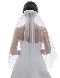 2T 2 层珍珠银色串珠婚礼头纱肘长 76.2 cm