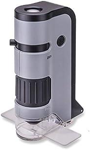 Carson MicroFlip 100x-250x LED 和 UV 照明口袋显微镜,带翻转滑基座和智能手机数字化夹 (MP-250)