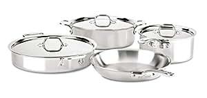All-Clad ST40005 D3 紧凑型不锈钢洗碗机*炊具套装,银色 银色 7-Piece ST40007