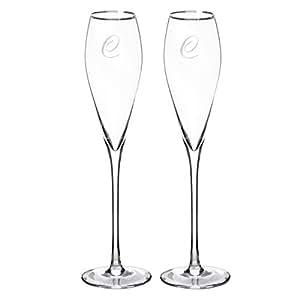 Cathy's Concepts 个性化金色边缘香槟*瓶(2 件套),空白 银色 None 3670S-C