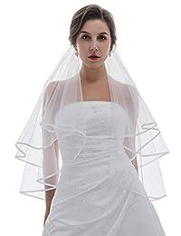 2T 2 层 0.64cm 缎带边缘婚礼面纱 - 白色指尖长度 91.44cm V296