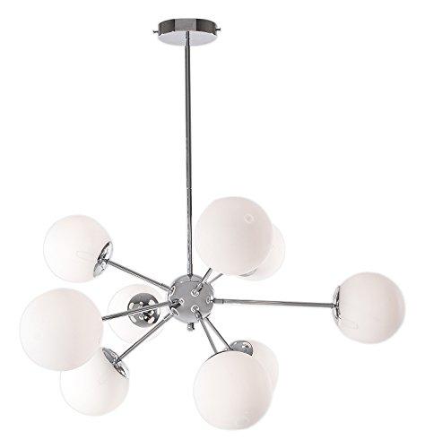 现代限量版 9 灯光白玻璃球吊灯,镀铬天花板灯具 700852-001 White Glass Globes 700852-001