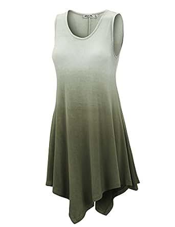 LL Womens Sleeveless Boho Tie-Dye Ombre Tunic Tank Top - Made in USA  Wt1053_olive Medium