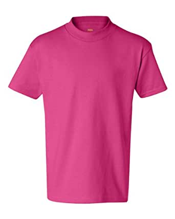 Hanes Authentic TAGLESS Kids' Cotton T-Shirt - Large, Wow Pink