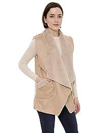 Janice Apparel 女士冬季保暖时尚前开襟鲁安娜纯色仿麂皮背心毛衣带口袋
