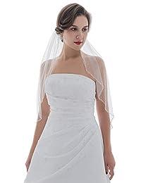 1T 1 层波浪水晶串珠新娘婚礼头纱肘长 76.2 cm