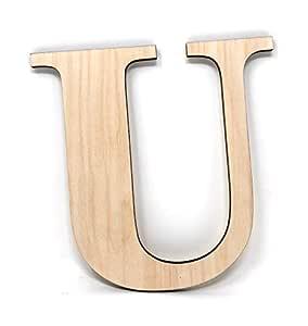 """Gocutouts 12"""" 木制未抛光木质字母随时准备上墙装饰时光字母 U 12"""" - 1/4"""" Gre"""