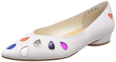 [津森千里]泪滴型切割浅口鞋 4713 白色康贝 22.5 cm E