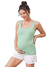 MakeMeChic女式孕妇纯色基本款背心无袖孕妇上衣