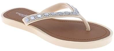 Capelli New York 女士时尚人字拖 镶钻和宝石装饰 肤色 6 M US