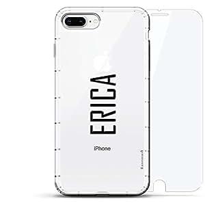 豪华设计师,3D 印花,时尚,气袋垫,360 玻璃保护膜套装手机壳 iPhone 8/7 Plus - 透明LUX-I8PLAIR360-NMERICA2 NAME: ERICA, MODERN FONT STYLE 透明