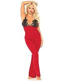 Leg Avenue 连体衣,蕾丝上身,红色,黑色,XL 码