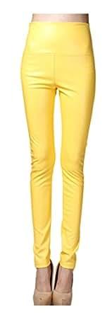 Lotus Instyle 厚高腰人造革打底裤女士皮革裤 黄色 L:Waist 72cm, Hips 82CM