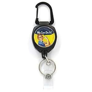 Buttonsmith 特厚实 Sidekick 可伸缩徽章卷轴带登山扣和钥匙圈 - 美国制造,1 年保修 Sidekick Rosie