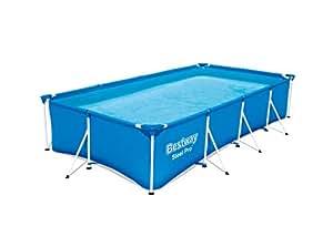Bestway Steel Pro 框架游泳池 无泵 四角形 钢架游泳池 蓝色 400 x 211 x 81 cm 56405