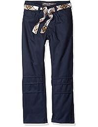 Eddie Bauer 女童 5 口袋斜纹裤,带双面皮带
