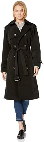 London Fog Women's 3/4 Length Double-Breasted Trench Coat with