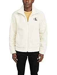 Calvin Klein 男士羊羔绒拉链式徽标运动衫 冬季白 X-Small