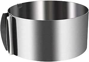 专业不锈钢食品塔展示烹饪环 带食品压制圆形形式(2 件套) Silver-Adj adjustable 6-12 INCH