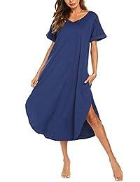 AVIIER 长款睡衣 女式休闲服 带口袋 V 领 短袖 睡衣 休闲睡衣 S-XXL