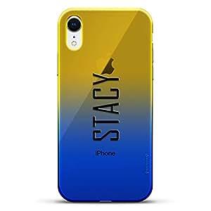 奢华设计师,3D 印花,时尚,高端,高端,Chameleon 变色效果手机壳 iPhone XrLUX-IRCRM2B-NMSTACY2 NAME: STACY, MODERN FONT STYLE 蓝色(Dusk)