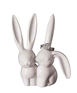 creative co-op ceramic bunny rabbit ring holder