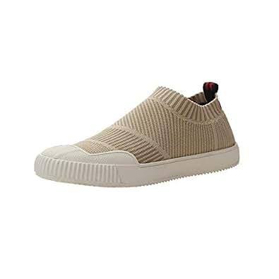 VOCANU TRE 英国 春夏新款弹力袜子鞋低帮飞织高品质冷粘鞋休闲女鞋 米色 39