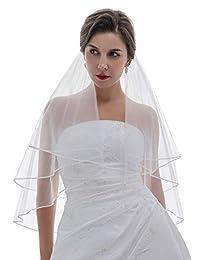 2T 2 层 0.32 厘米丝带边缘新娘婚礼头纱肘长 76.2 厘米