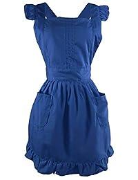 LilMents 复古可调节荷叶边围裙,带口袋,小号到加大码女士 *蓝 均码 7Q1ZZG