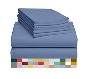 LuxClub 4 件套竹纤维床单套装 35.56 cm 深套口床单环保,无皱,低*性,*,吸湿排汗,*,*,抗褪色,丝滑,环保产品 Oxford 全部 LUXBAMBOO-ATJ-OXFORD-FU-FL