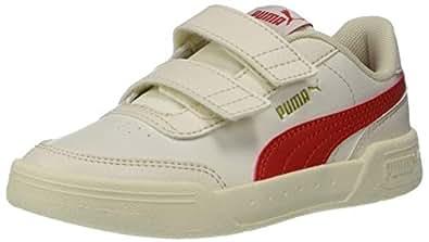 PUMA Caracal Velcro 儿童运动鞋 Whisper White-high Risk Red-puma Silver 13.5 M US Little Kid