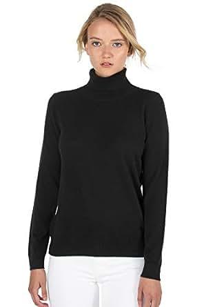 JENNIE LIU 女式 * 纯羊绒长袖套头高领毛衣 黑色 2X