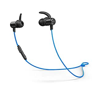 Anker SoundBuds Slim Wireless Headphones, Bluetooth 4.1 Lightweight Stereo Earbuds with Magnetic Connection, NANO Coating Sweatproof Sports Headset with Metallic Housing & Built-in Mic 蓝色