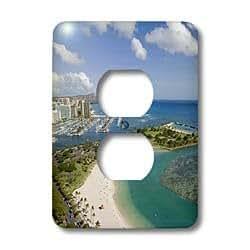 3dRose Lsp_89601_6 Ala Moana,火奴鲁鲁,夏威夷 - Us12 Dpb0486 - Douglas Peebles 2 插头插座盖