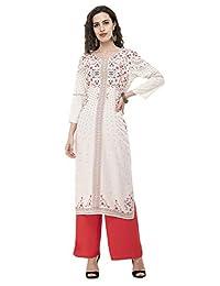 Sabhyata 女式设计师直筒棉人造丝长袍 Kurti 上衣 奶油色 Large