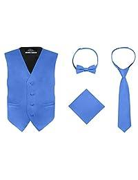 S.H. Churchill & Co. 男童 4 件式背心套装,带蝴蝶结、领带和口袋手帕