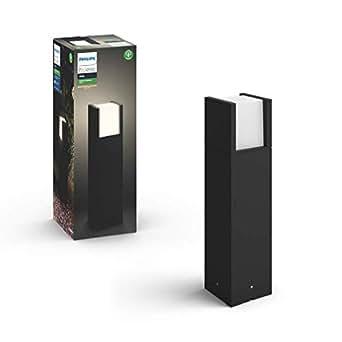 Philips 飞利浦Hue白色LED壁灯 Fuzo(方形上/下),适用于室外区域,可调光,暖白光,可通过App控制,可与Amazon Alexa兼容 (Echo, Echo Dot) 黑色 915005733201