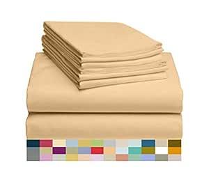 LuxClub 6 件套竹纤维床单套装 45.72 cm 深套口床单环保,无皱,低*性,*,吸湿抗褪色,丝滑,环保产品 黄色 King LUXBAMBOO-6PC-ATJ-BUTTER-KG-FL
