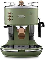 De'Longhi 德龙 Icona 复古泵压式咖啡机 KBOV2001.GR 适用于制备意式浓缩(Espresso),配有专业的牛奶起泡喷嘴,15bar,1.4L,也适用于奶垫,复古不锈钢外观,镀铬细