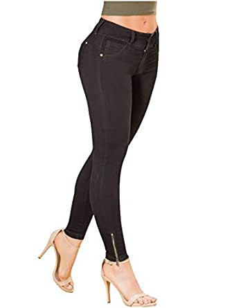 Laty Rose Women Skinny Wide Waistband Butt Lifter Jeans Levanta Cola Colombianos Negro 5