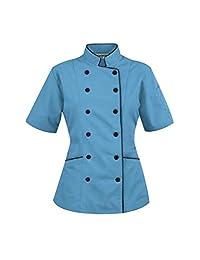 短袖女士厨师外套夹克 Uniformates 出品 天蓝色 XXL (For Bust 42-43)