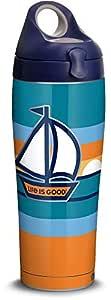 Tervis 1314689 Life is Good - 帆船日落不锈钢隔热玻璃杯带盖 526.8g 银色 银色 24 oz Water Bottle - Stainless Steel 1314692