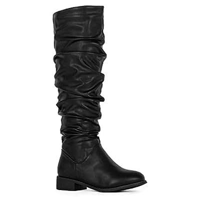 RF ROOM OF FASHION 女式休闲及膝隐形口袋靴 Medium Calf Black With Zipper 8 M US