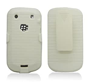 Aimo Wireless BB9900PCBEC008 Shell Holster Combo Protective Case for BlackBerry Bold 9900/9930 with Kickstand Belt Clip and Holster - Retail Packaging - White