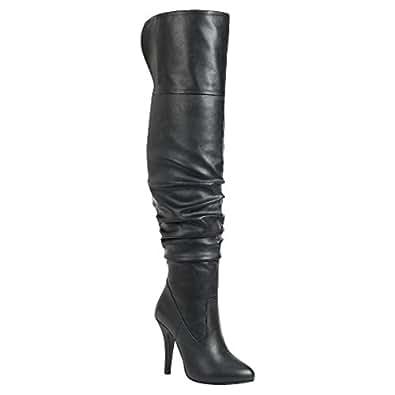 Forever Link 女士 Focus-33 时尚时尚套头过膝高性感靴子 Premier Black 7 M US