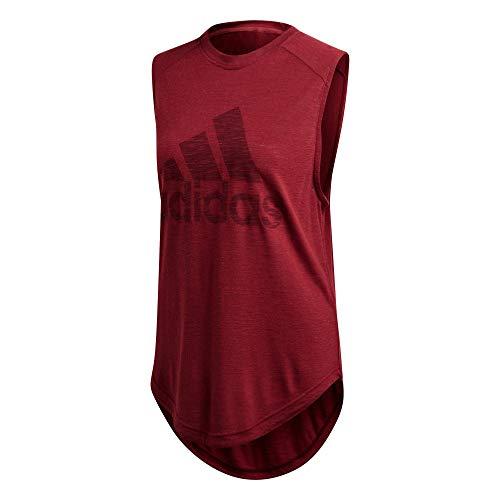 アディダスの女性のスポーツグラフィックヘムマッスルTシャツ